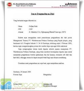 contoh surat pengunduran diri dalam bahasa inggris ...